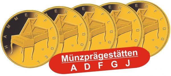 """5x 50 € DE """"Hammerflügel"""" 2019 Gold St 1/4oz A-J"""