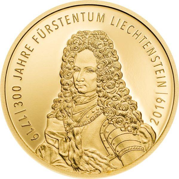 """25 Fr Liechtenstein """"300 Jahre Liechtenstein"""" 2019 Gold PP"""