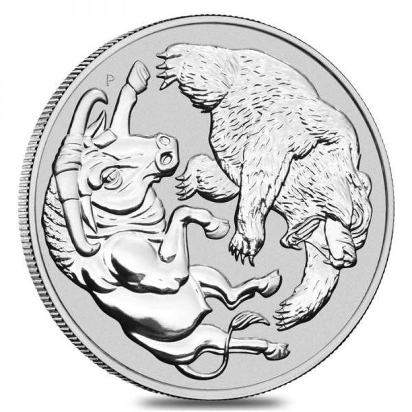 1 Dollar Australien Bulle und Bär 2020 1oz Silber St