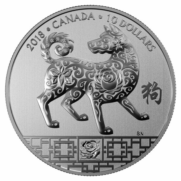 """10 $ Kanada """"Jahr des Hundes"""" 2018 Ag St"""