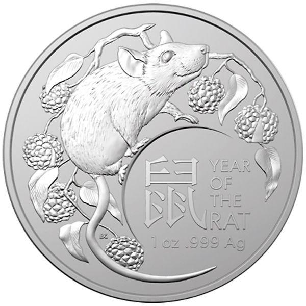 1 Dollar Australien RAM Lunar Jahr der Ratte 2020 Silber St