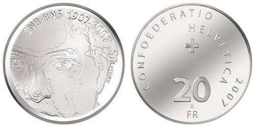 """20 CHF Schweiz """"Schweizer Nationalbank"""" SNB 2007 Silber St"""