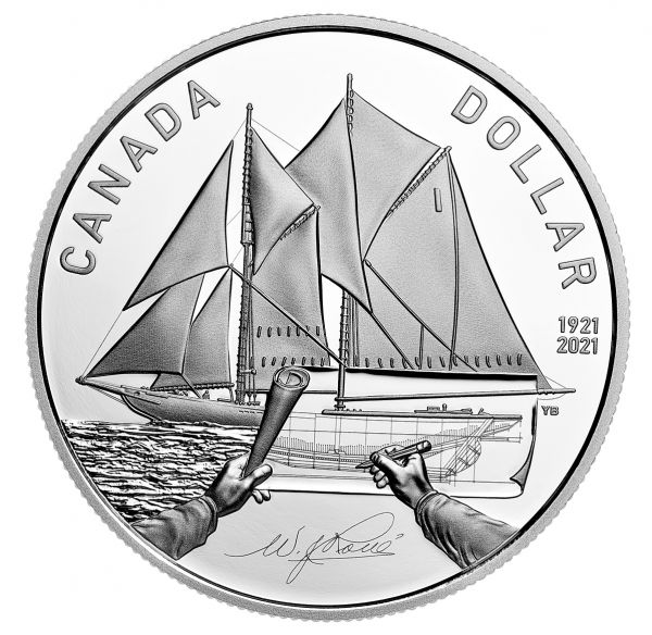 1 Dollar Kanada 100. Geburtstag Bluenose 2021 Silber PP