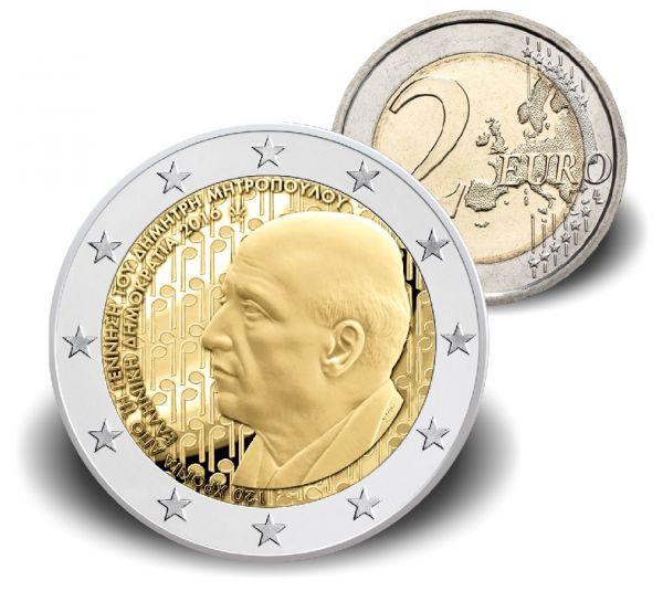"""2 € Griechenland """"Dimitri Mitropoulos"""" 2016 Cn bankfrisch"""