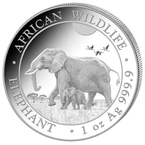 100 Shillings Somalia Elephant 1oz 2022 Silber St