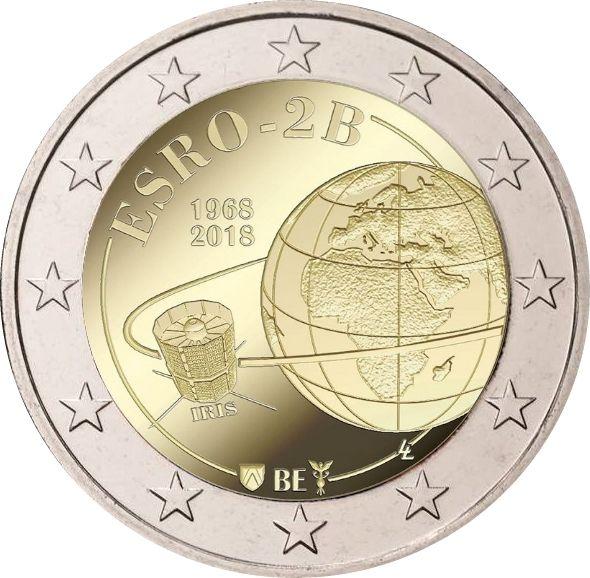 """2 € Belgien """"50 Jahre Satellit ESRO"""" 2018 CN St -Blister-"""