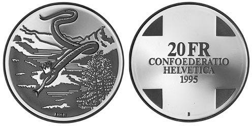 """20 CHF Schweiz """"Schlangenkönigin"""" 1995 Silber St"""