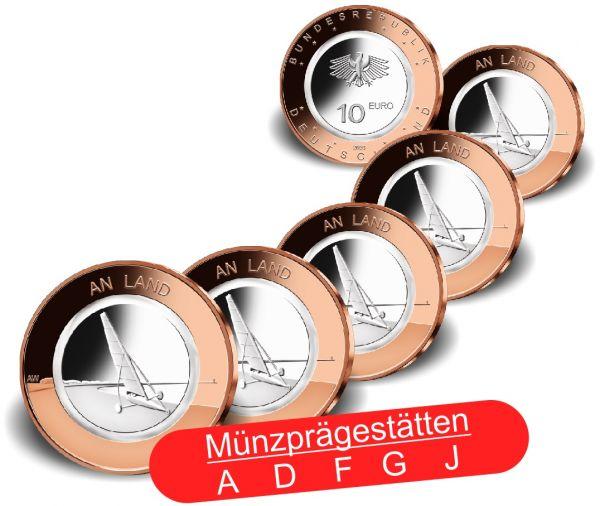 5x 10 Euro Deutschland An Land 2020 CN PP A-J