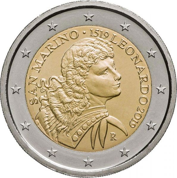 "2 € San Marino ""500. Todestag Leonardo Da Vinci"" 2019 CN St"