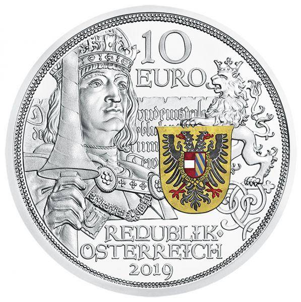 """10 € Österreich """"Ritterlichkeit"""" 2019 Silber PP farbig"""