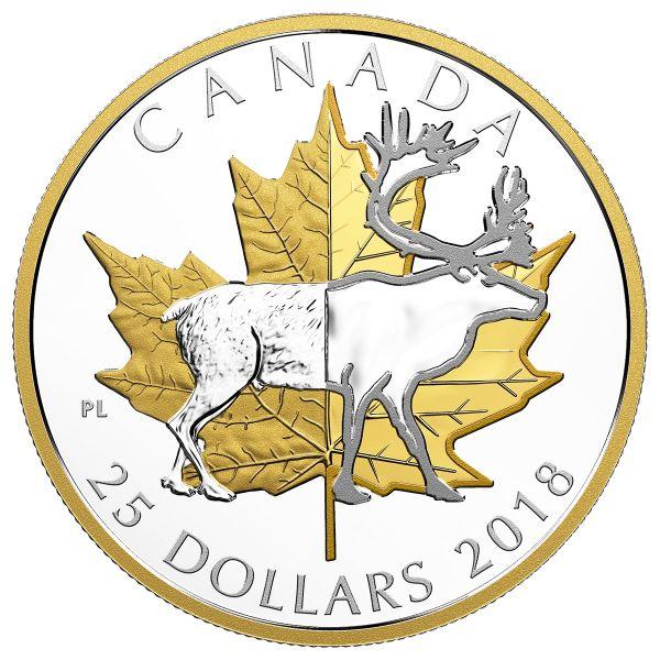 """25 $ Kanada """"Maple Leaf und Karibu"""" 2018 Ag PP"""