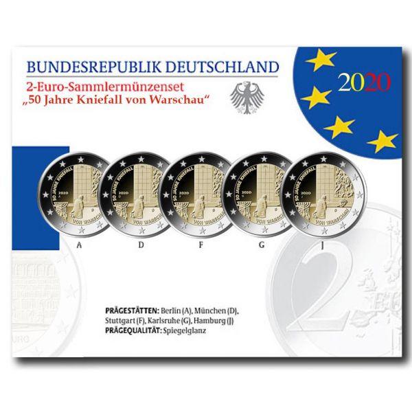 5x2 Euro Deutschland 50 J. Kniefall v. Warschau 2020 CN PP A-J