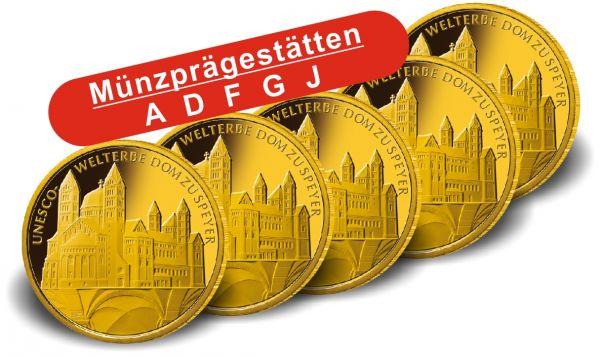 """5x 100 € DE """"UNESCO - Dom zu Speyer"""" 2019 Gold St A-J"""