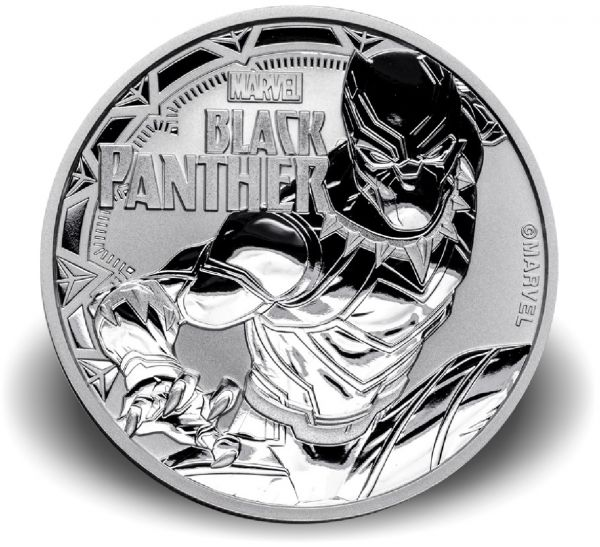 """1 Dollar Tuvalu """"Black Panther"""" 2018 Silber St"""