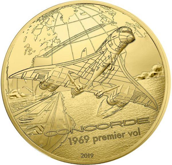 """50 € Frankr. """"Geschichte u. Luftfahrt - Concorde"""" 2019 Gold PP"""