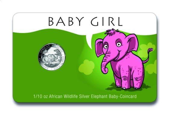 """10 Shillings Somalia """"Baby GIRL - Elefant"""" 2019 Silber St"""