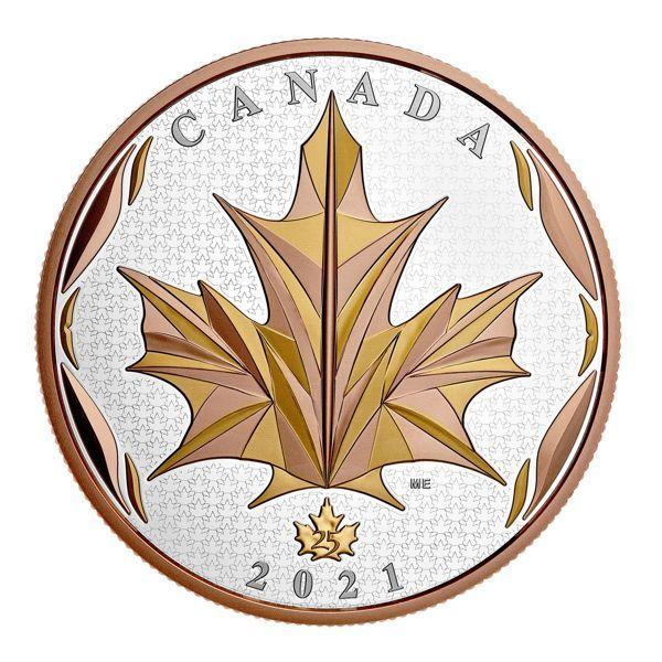 50 Dollar Kanada Maple Leaf in Motion 2021 Silber PP