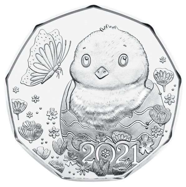 5 Euro Österreich Osterküken 2021 Silber hgh