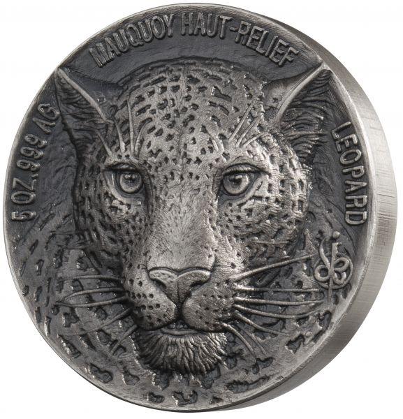 "5.000 Francs ""Mauquoy Haut-Relief Leopard"" 2018 Silber Af"