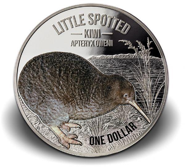 """1 Dollar Neuseeland """"Kiwi"""" 2018 Ag PP -farbig-"""