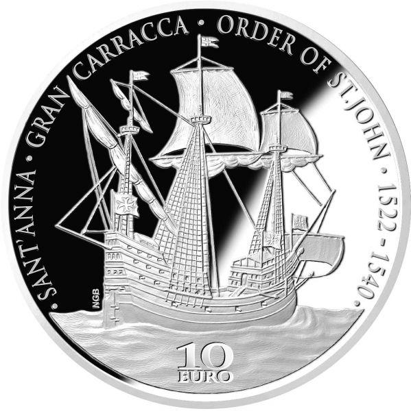 """10 Euro Malta """"Renaissance - Gran Carracca"""" 2019 Silber PP"""