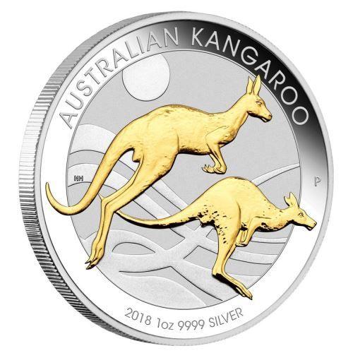 "1 $ Australien ""Känguru teilvergoldet"" 2018 1oz Silber St"