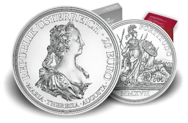 """20 € Öster. """"Maria Theresia - Tapferkeit u. Entschlossenheit"""" #1 2017 Ag PP"""
