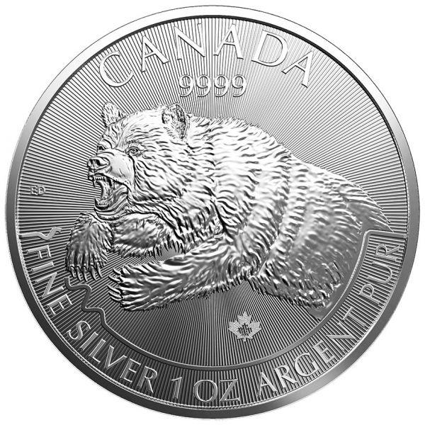 """5 $ Kanada Wildlife """"Grizzly"""" 2019 Silber St -1oz-"""
