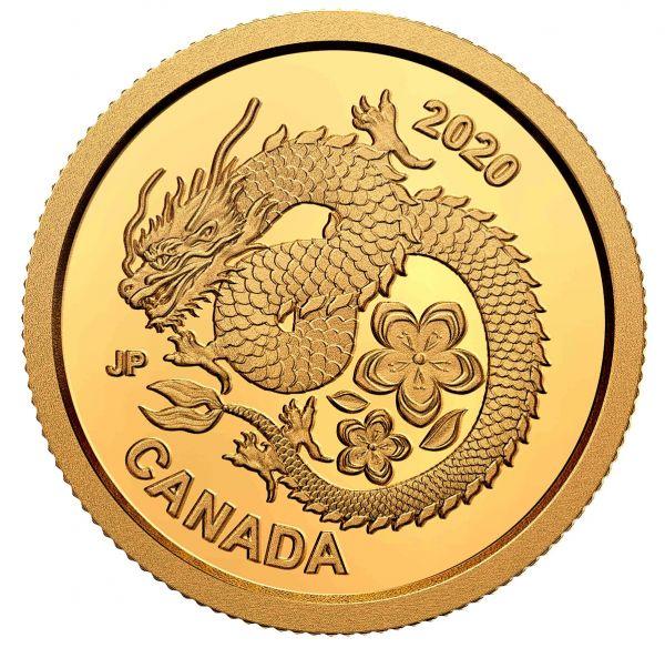 8 Dollars Kanada Lucky Flower Dragon 2020 Gold PP