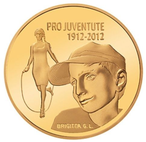 """50 CHF Schweiz """"100 Jahre Pro Juventute"""" 2012 Gold PP"""