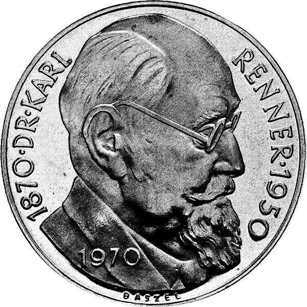 50 ATS Österreich 100 Geb. Dr. Karl Renner 1970