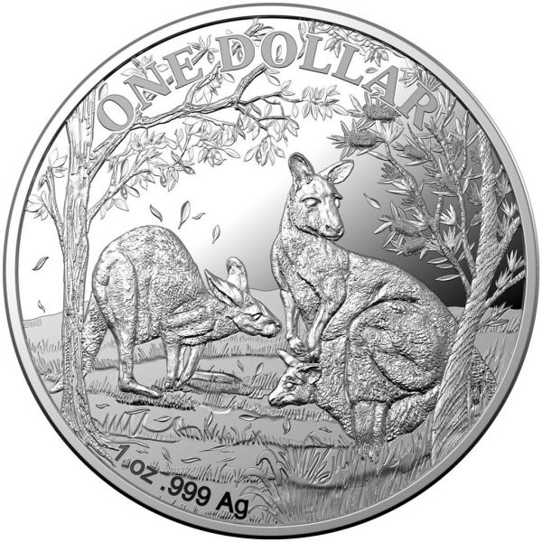 1 $ Australien Känguru 2019 Etui Silber PP