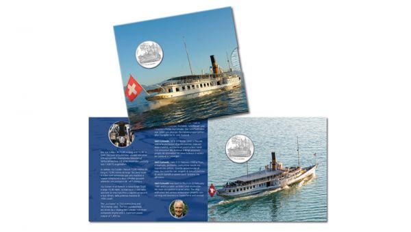 """20 CHF Schweiz """"Dampfschiff - La Suisse"""" im Folder 2018 Silber St"""