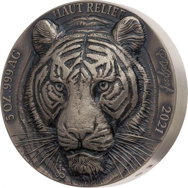 5.000 Francs Big Five Asia - Tiger 2021 Silber AF