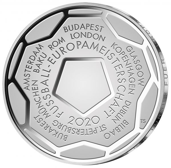 20 Euro DE Fußball-Europameisterschaft 2020 Silber PP -J-