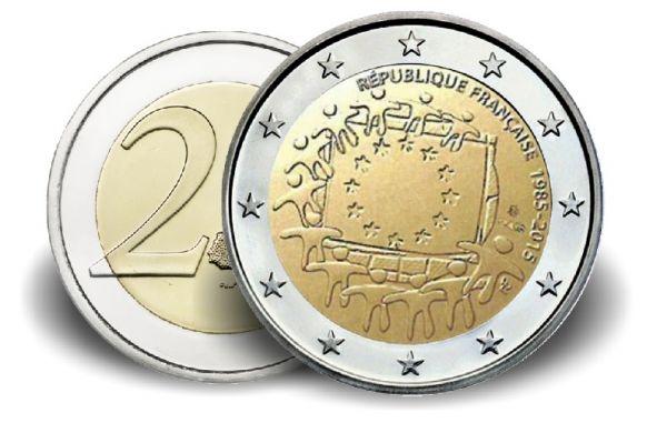 """2 € Frankreich """"30 Jahre Europaflagge"""" 2015 CuNi vz"""
