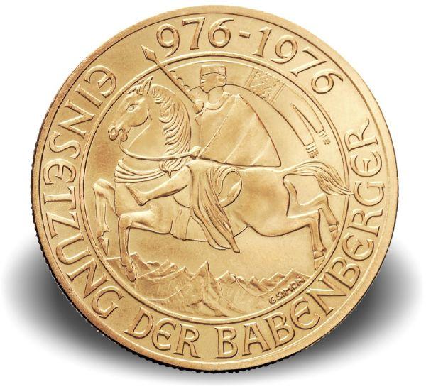 """1000 ATS Österreich """"Babenberger"""" 1976 Gold vz"""