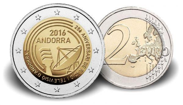 """2 € Andorra """"25 J. Öffentlich Rechtlicher Rundfunk"""" 2016 CN St"""