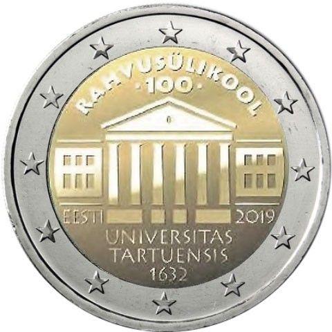 2 Euro Estland 100.Jahrestag Gründung der Universität Tartu 2019 CN bfr