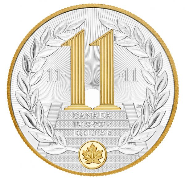 """1 $ Kanada """"100 J. Ende des I. Weltkriegs"""" 2018 Silber PP"""
