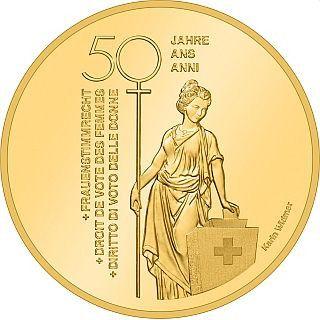 50 CHF Schweiz Frauenstimmrecht 2021 Gold PP