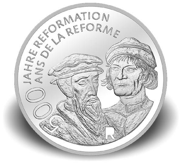"""20 CHF Schweiz """"500 Jahre Reformation"""" 2017 Ag PP"""