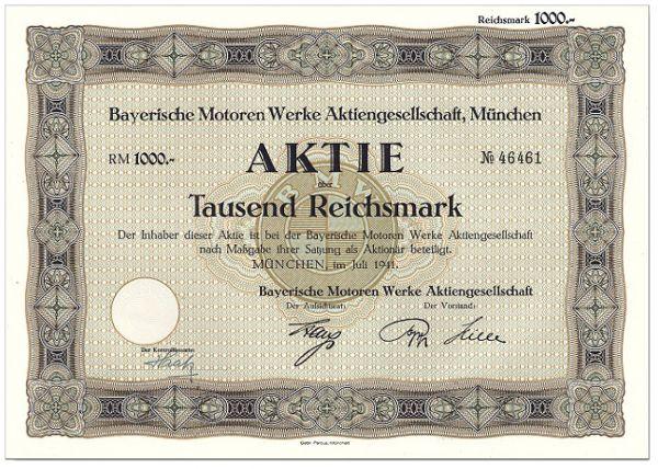 Histor. Wertpapier BAYERISCHE MOTORENWERKE Aktie 1941
