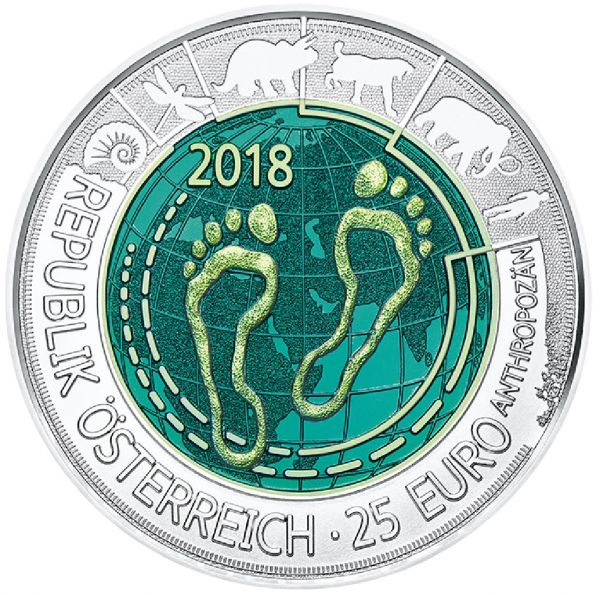 """25 € Österreich """"Anthropozän"""" 2018 Silber hgh Niob"""
